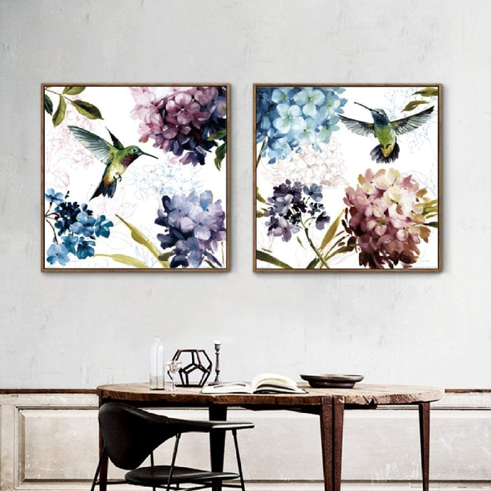 Watercolor Canvas Art Flower Purple Hydrangea Painting Modern Home Decoration Hummingbird Birds Animals Posters Wall Art Picture -50x50cmx2 (No Frame)