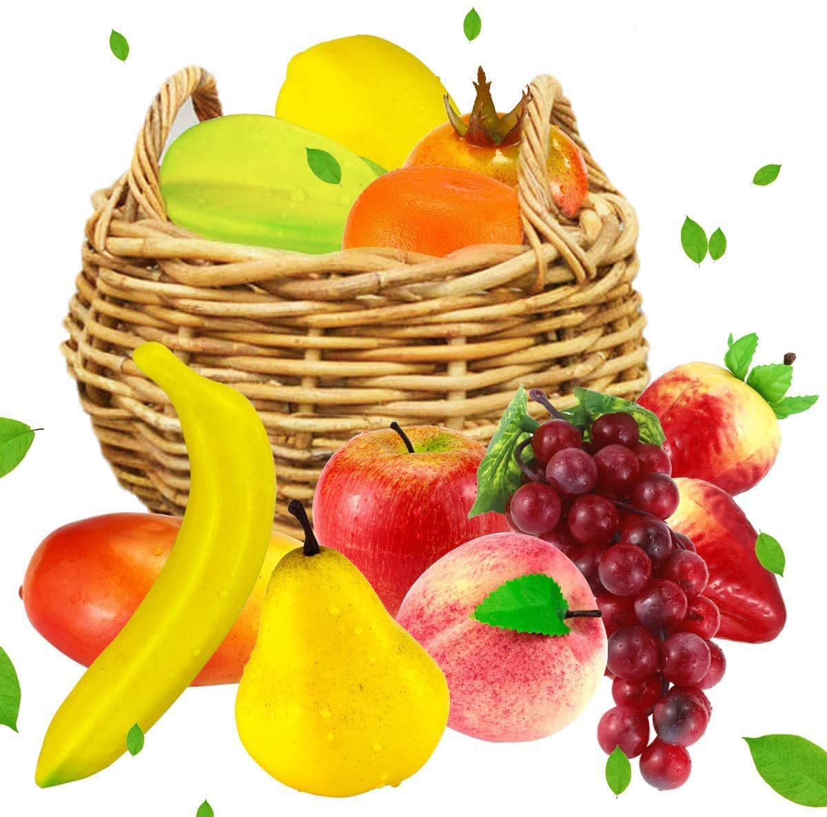 Faxco 12 PCS Artificial Fruit, Fake Fruit Set, Realistic Fruit Decoration, Lifelike Decorative Fruits for Home, Kitchen, Party Decor