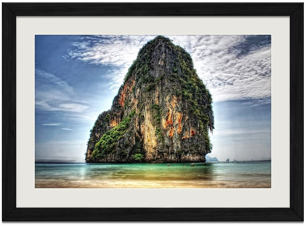 Nature Sea - Art Print Wall Black Wood Grain Framed Picture(20x14inches)