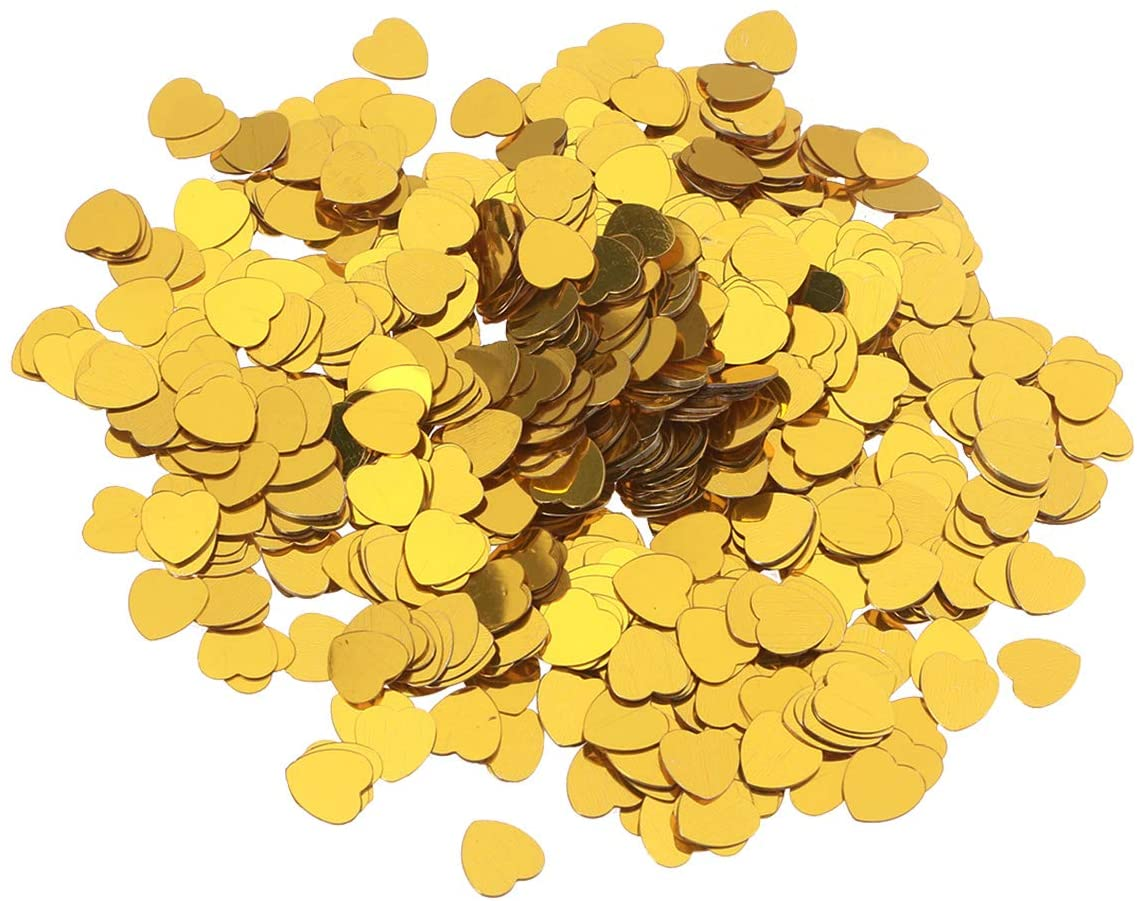 NUOBESTY Table confetti heart party confetti for birthday wedding decoration 30g (golden)