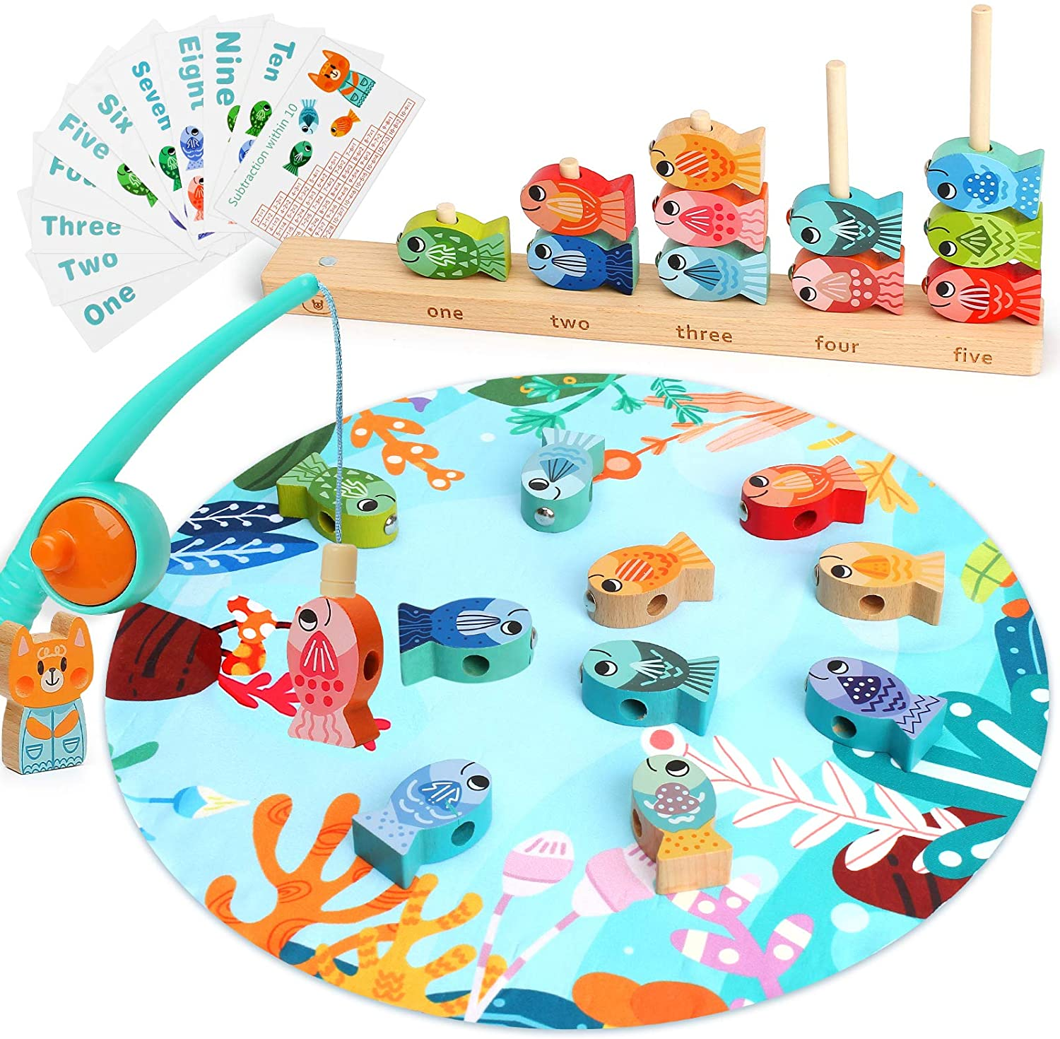 LUKAT Wooden Magnetic Fishing Game, Toys for 3 4 5 6 Year Old Girl Boy, Alphabet Fish Catching Counting Preschool Board Games, Early Math Learning Educational Toys for Kids
