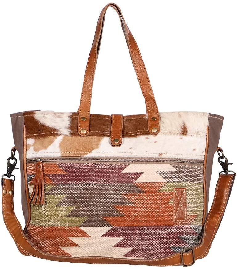 Myra Bags Crusader Canvas, Rug, Leather & Hairon Weekender Bag S-1966