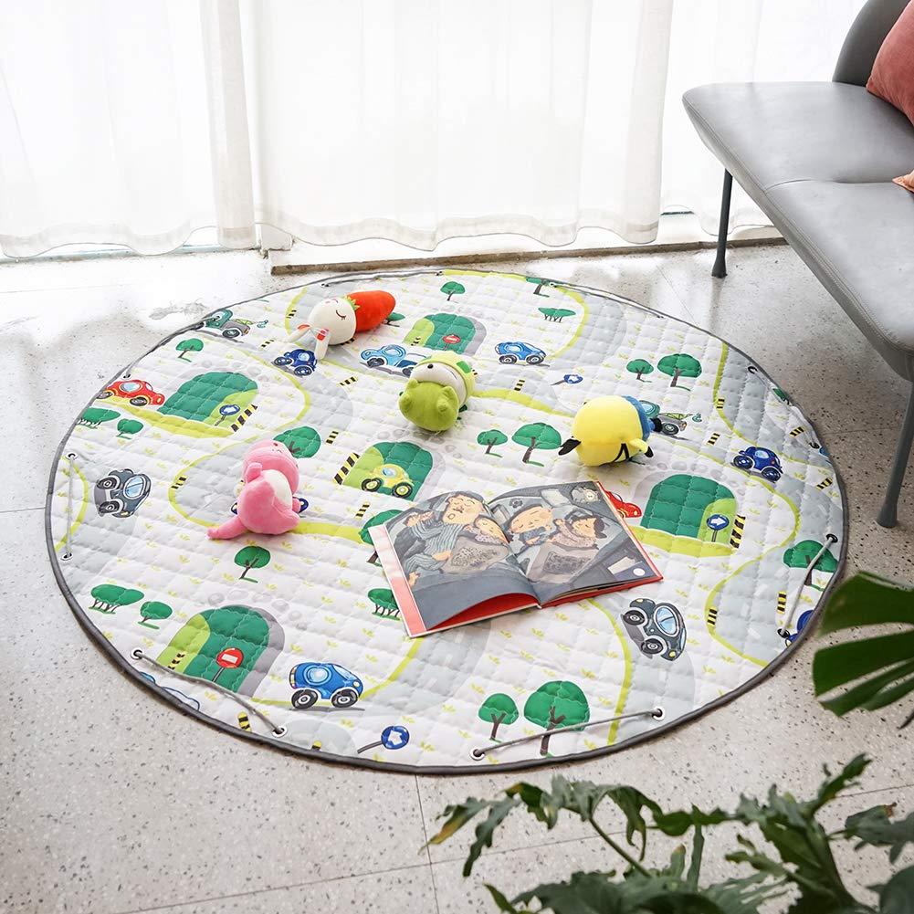 YOULERBU Baby Kids Play Mat Folding Mat Baby Crawling Mat Kids Playmat Soft and Washable Toys Storage Organizer Children Play Rugs(car)