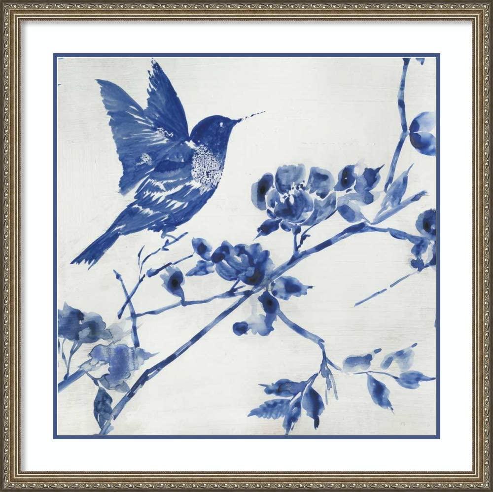 Framed Wall Art Print Porcelain Hummingbird by Asia Jensen 32.25 x 32.25 in.