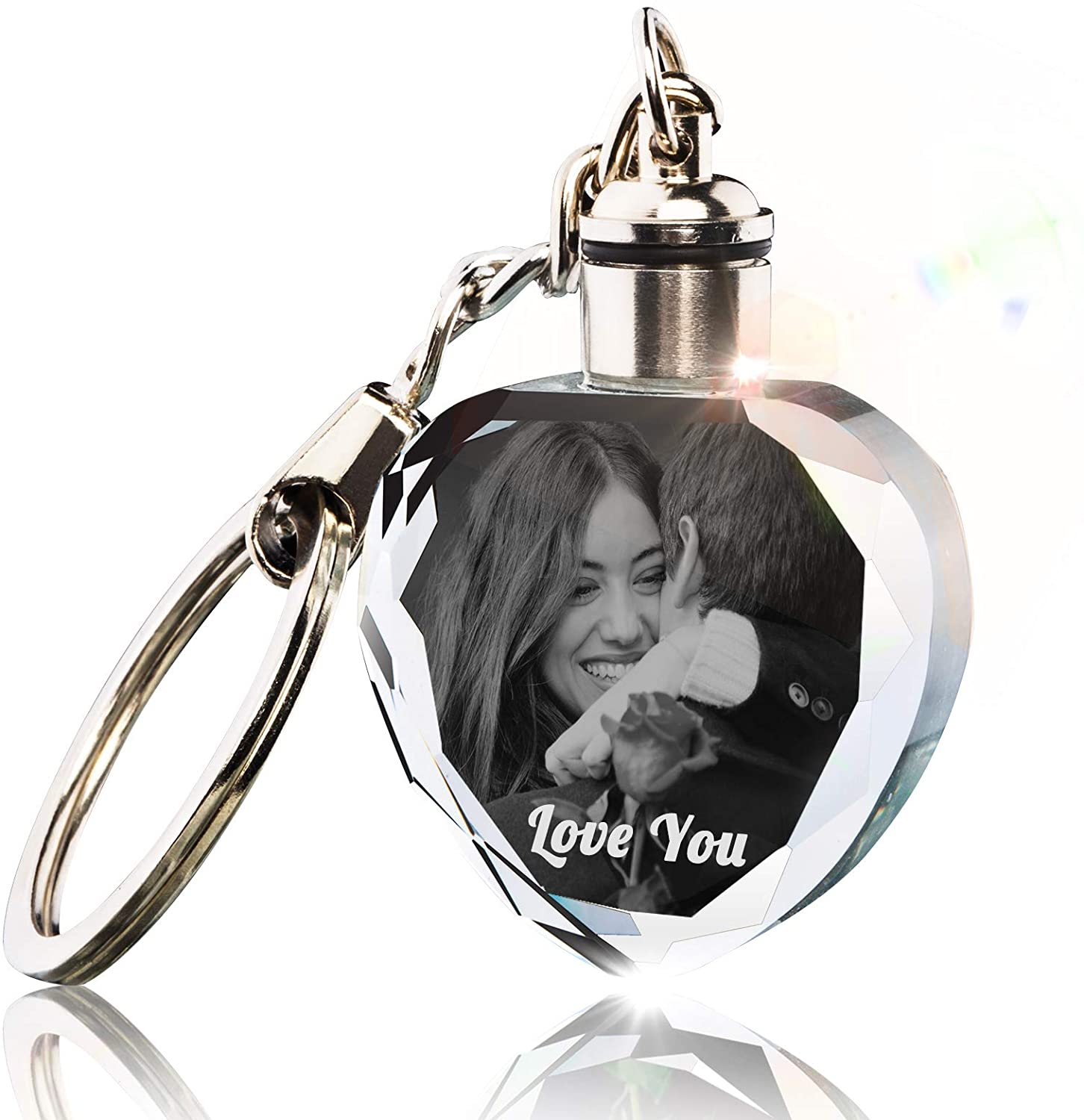Custom Personalized Crystal Keychain with Picture Photos Engraved,Customized Gift