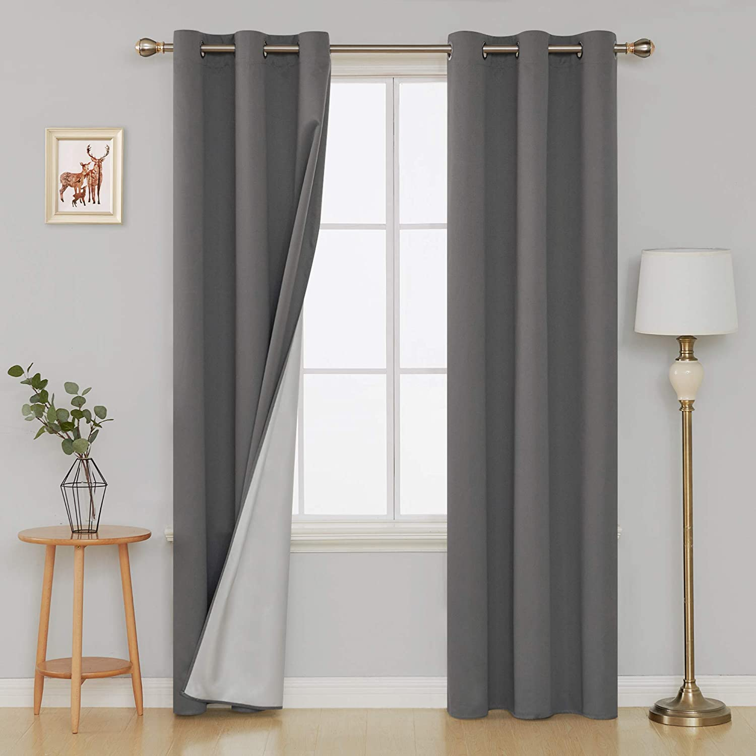 Deconovo Energy Saving Grommet Blackout Curtains with Silver Coated Backing Thermal Insulated Drapery Drapes for Window 42W x 84L Inch Light Grey 2 Panels