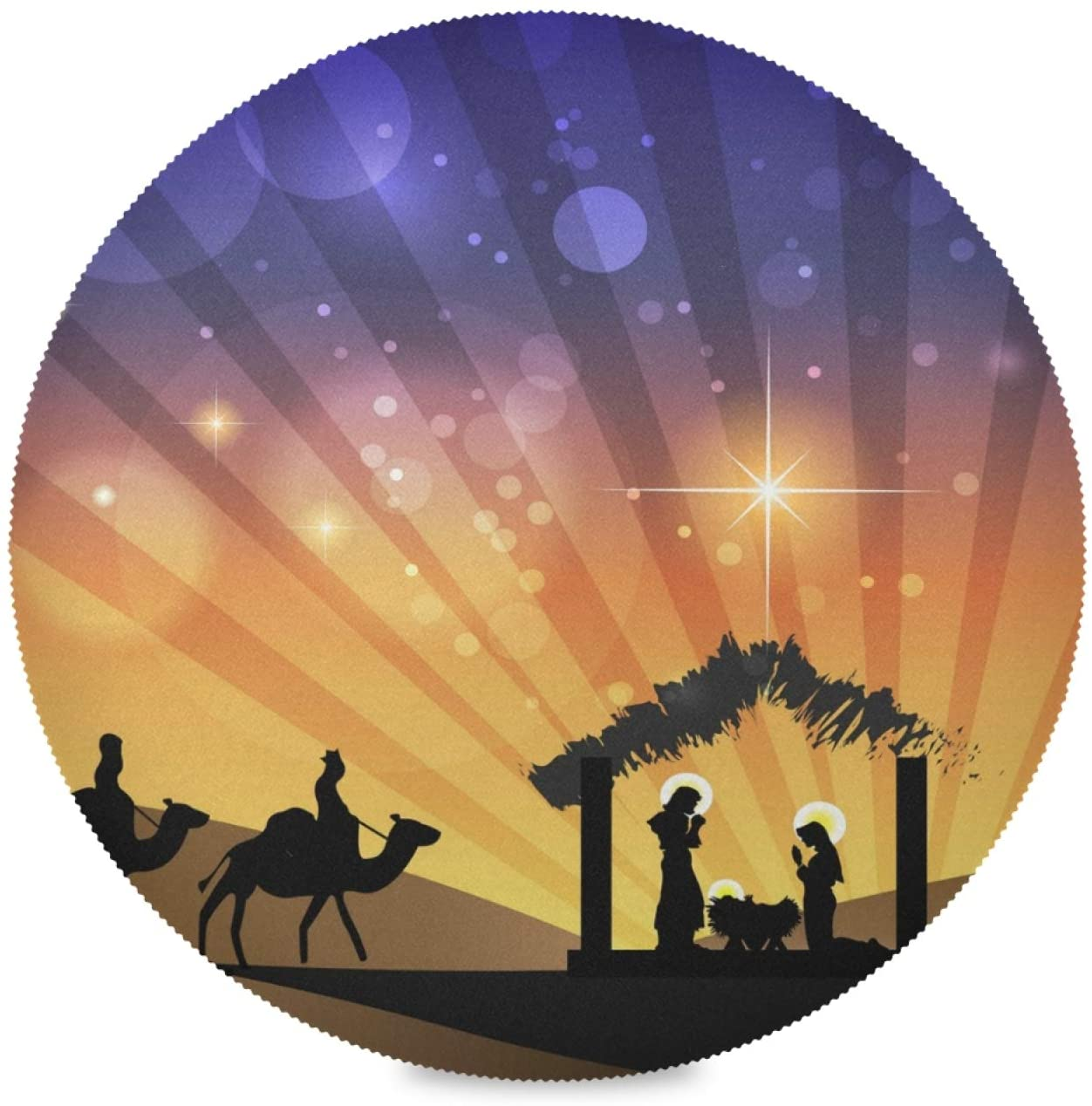 ALAZA Christmas Nativity Scene1 Round Placemats for Dining Table Placemat Set of 4 Table Settings Table Mats for Home Kitchen Holiday Decoration