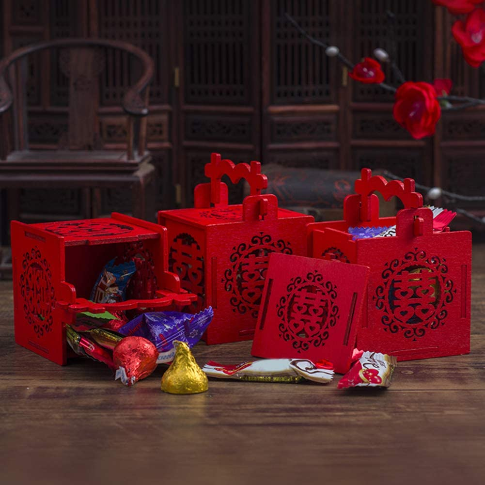 Chinese Style Wedding Candy Box,2Pcs Chinese Double Happiness Hollow Carved Wooden Gift Box, Tassel Symbolizing Passionate Love, Candy Bag, Baby Baptism, Bride, Party Gift Box- L Golden Heart Xi