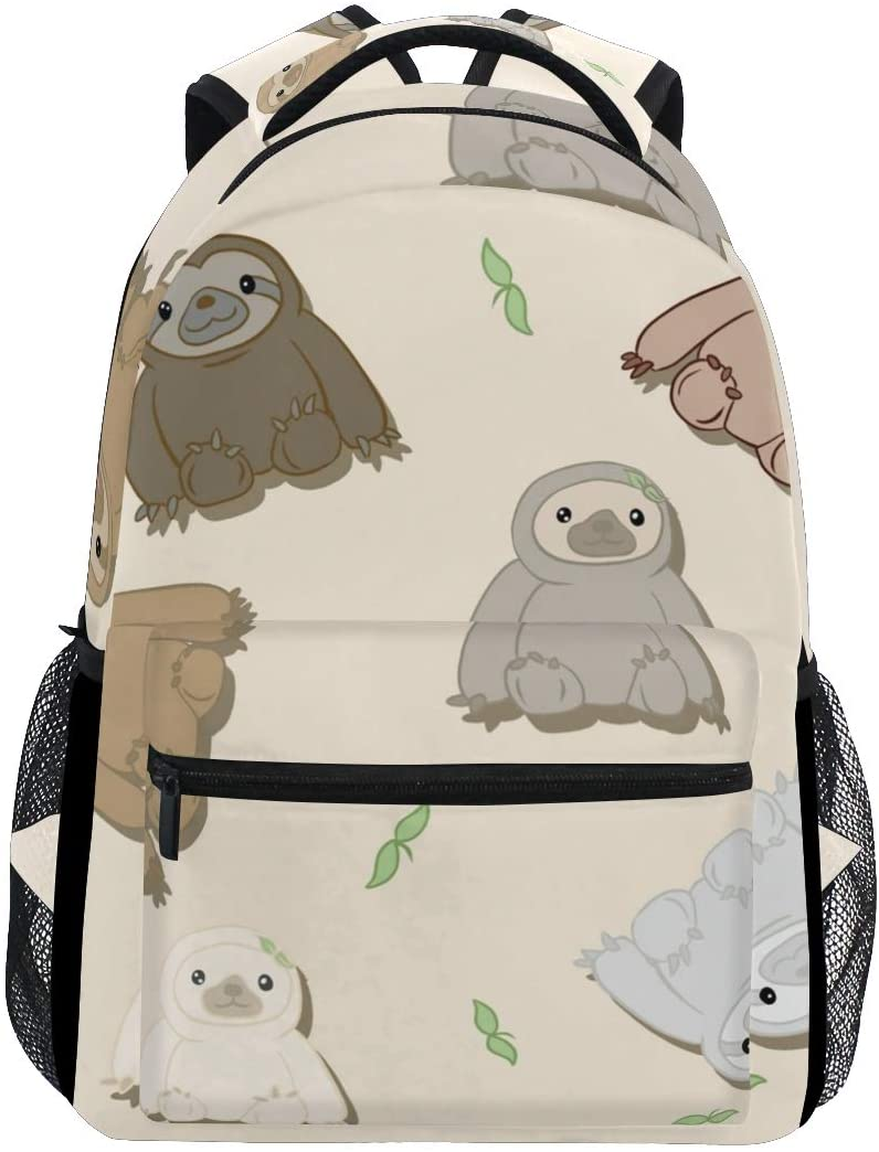 Stylish Cute Sloths Backpack- Lightweight School College Travel Bags, ChunBB 16 x 11.5 x 8