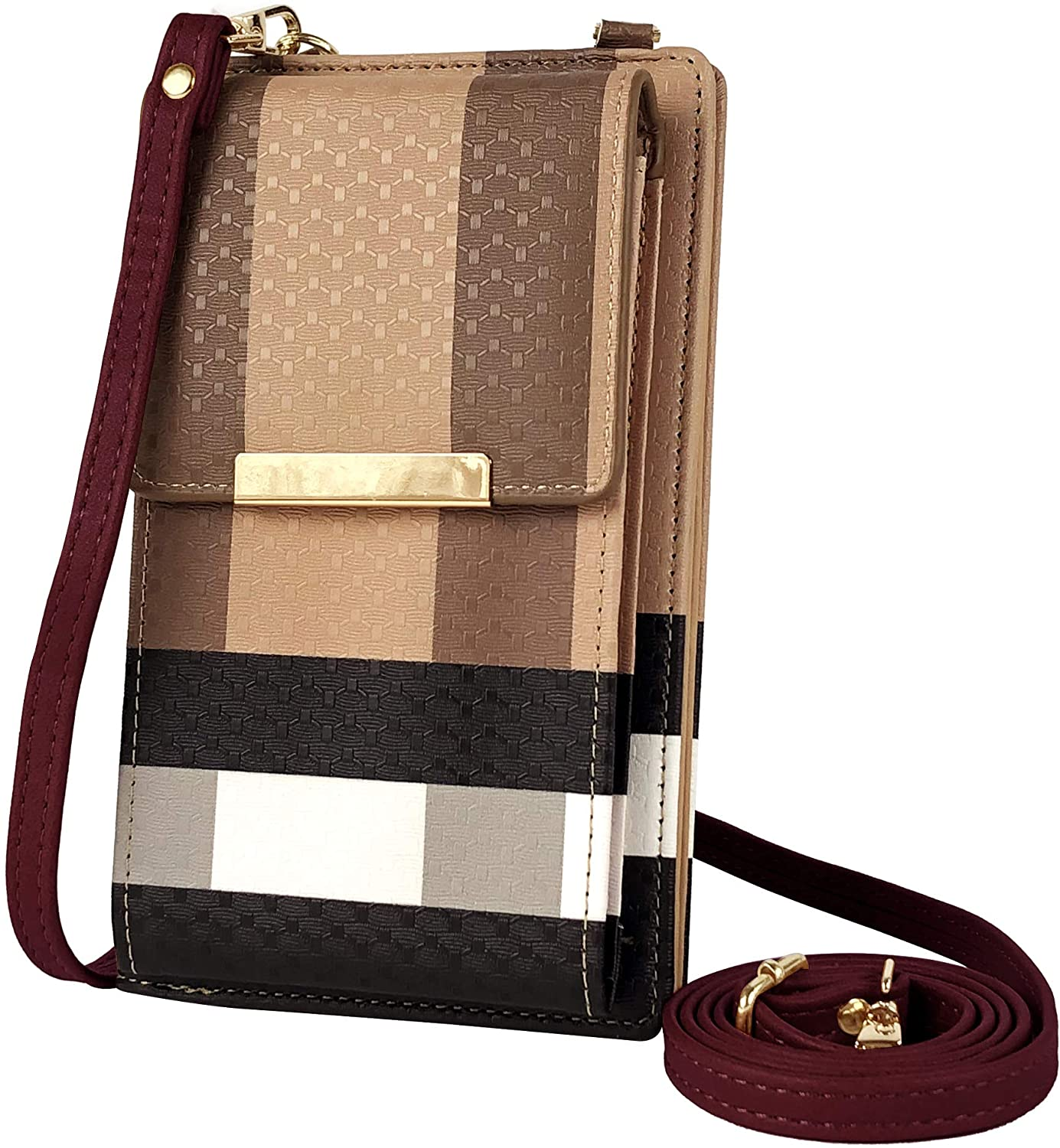Deluxity Gianna Stylish Lightweight Small Plaid Cellphone Crossbody Bag Shoulder Purse for Women