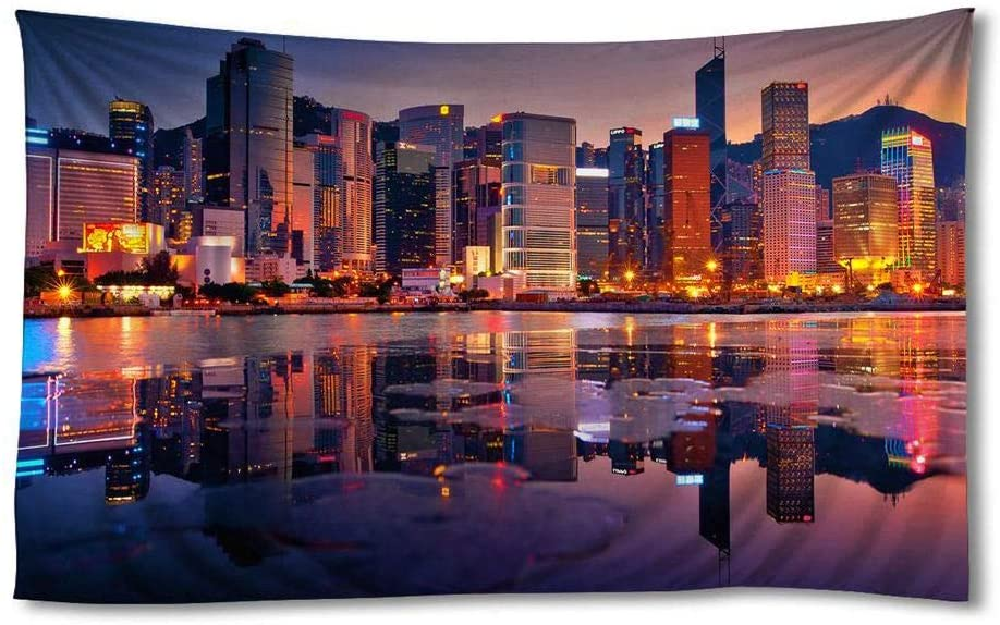 EGOTOU Beautiful Hong Kong Night View City - Wall Tapestry Home Decor Art Wall Hanging Tapestries 60x90 inch
