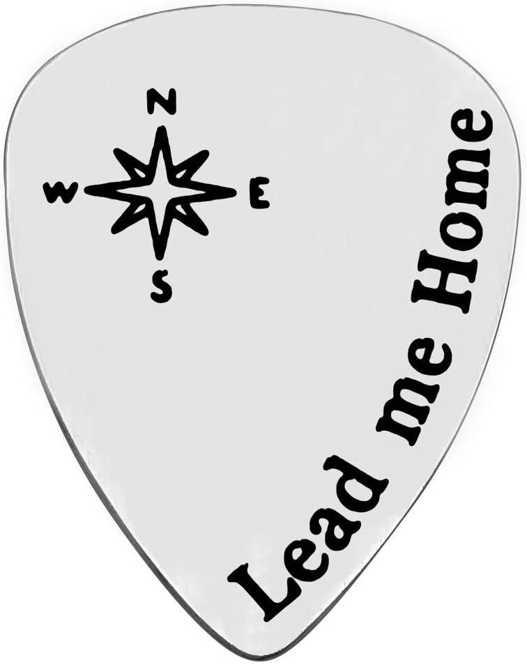 Lead Me Home Guitar Pick Anniversary Gift for Musician Guitar Player Husband Boyfriend Musical Gift Wedding Valentines Day Jewelry for Him Birthday Gift for Musician