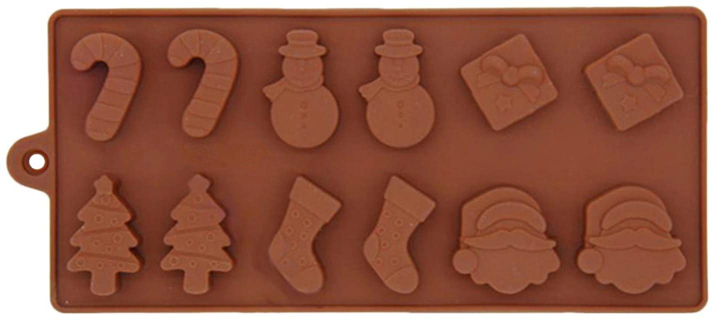 1PC Christmas 13 Holes Silicone Mold Non-Stick Chocolate Jelly Cake Baking mold for Party Xmas Gift Handmade Soap Molds with Shape of Christmas tree Elk Socks Bells Gift Snowman Sleigh Santa Claus