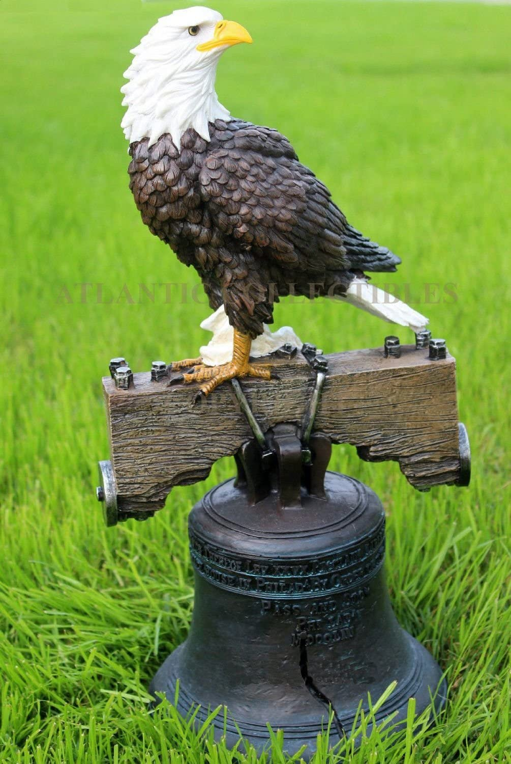 Atlantic Collectibles Independence Day American Patriotic Glory Bald Eagle Liberty Bell Home Patio Decor Figurine Great 4th of July Wings of Glory Pride Symbolic Statue