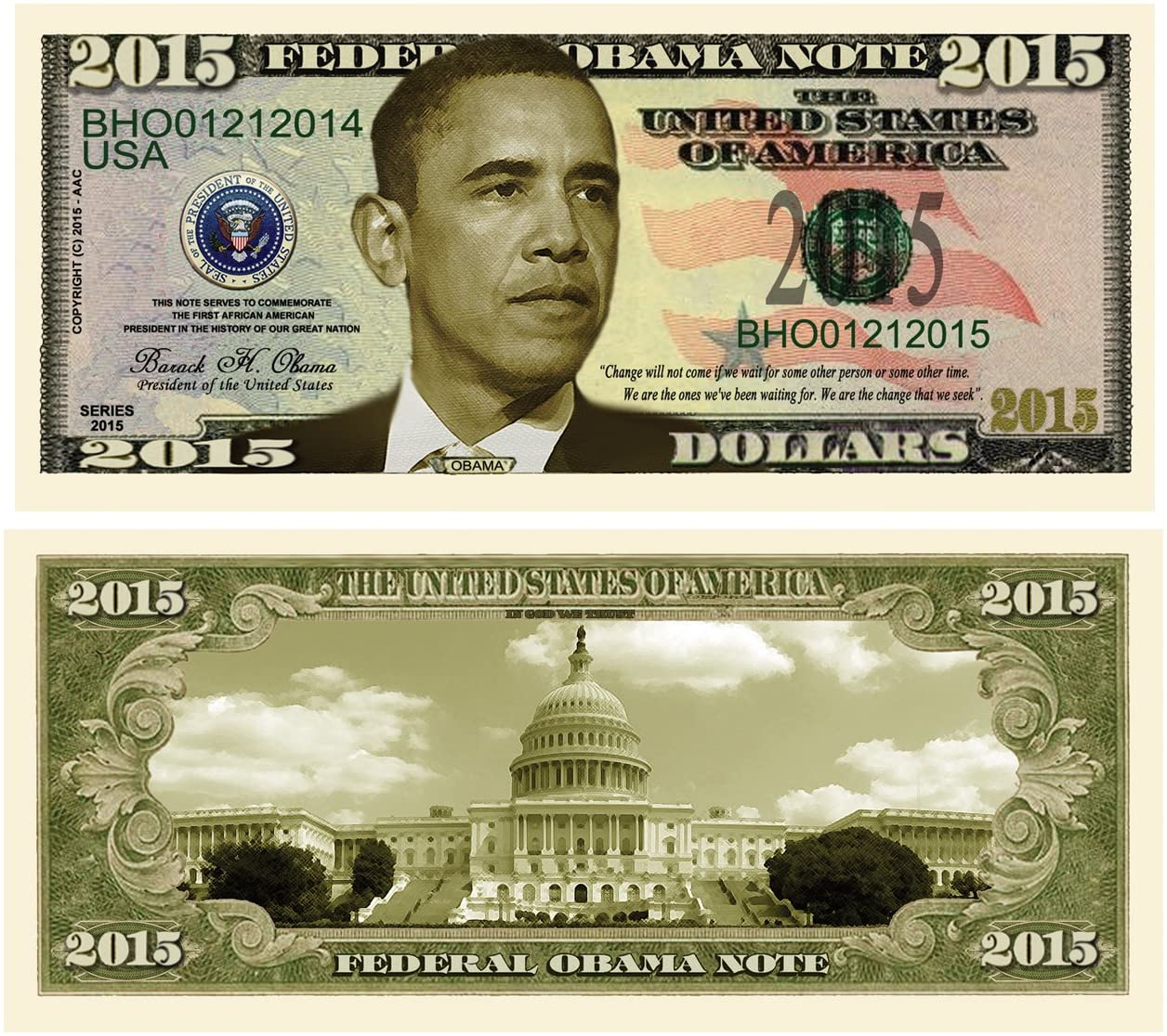 American Art Classics Set of 25 - Barack Obama 2015 Commemorative Dollar Bill