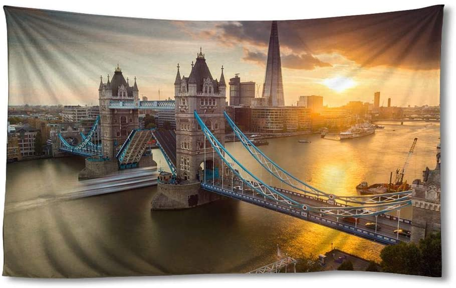 EGOTOU City London Tower Bridge River Sunset - Wall Tapestry Home Decor Art Wall Hanging Tapestries 60x90 inch
