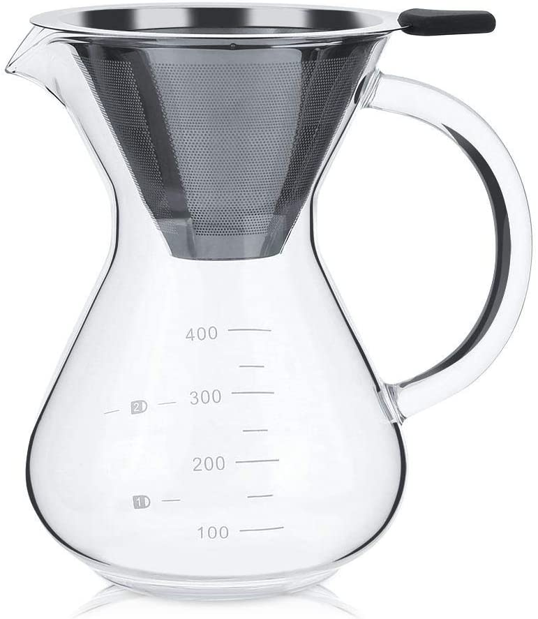 Bracon Glass Coffee Pot - 400ml Glass Hand Drip Coffee Maker Filter Pot with Scale Office Home