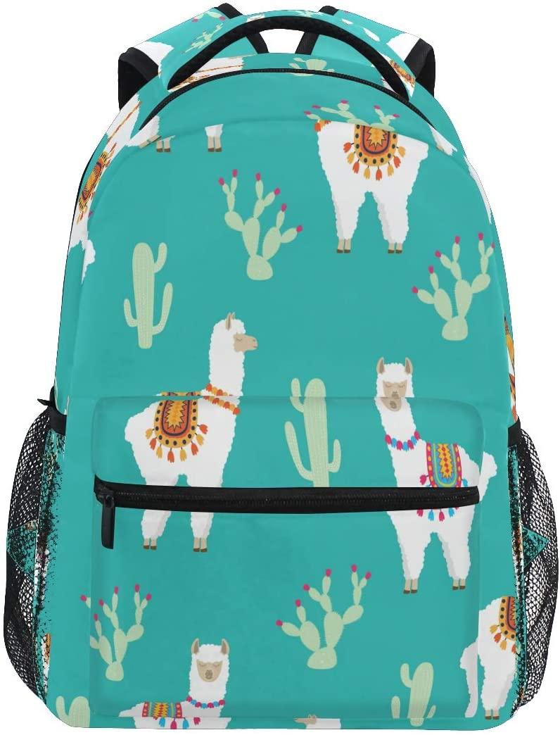 Ombra Backpack Cute Cactus Llama Alpaca School Shoulder Bag Large Waterproof Durable Bookbag Laptop Daypack for Students Kids Teens Girls Boys Elementary