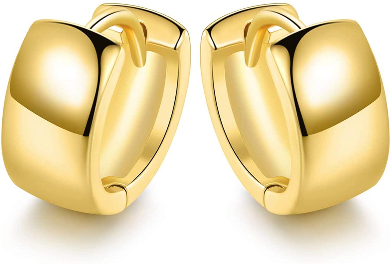 18K Gold Plated Hoop Earrings for Women and Men, Classics Cuff Earrings   Dainty Piercings Huggie Earrings Hypoallergenic