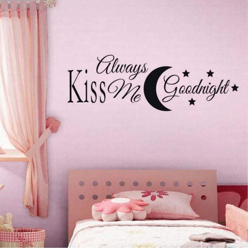 Kiss Me Goodnight with Moon and Star DIY Wall Sticker for Kids Room Bedroom Wall Decor Vinyl Removable Wallpaper Home Decoration