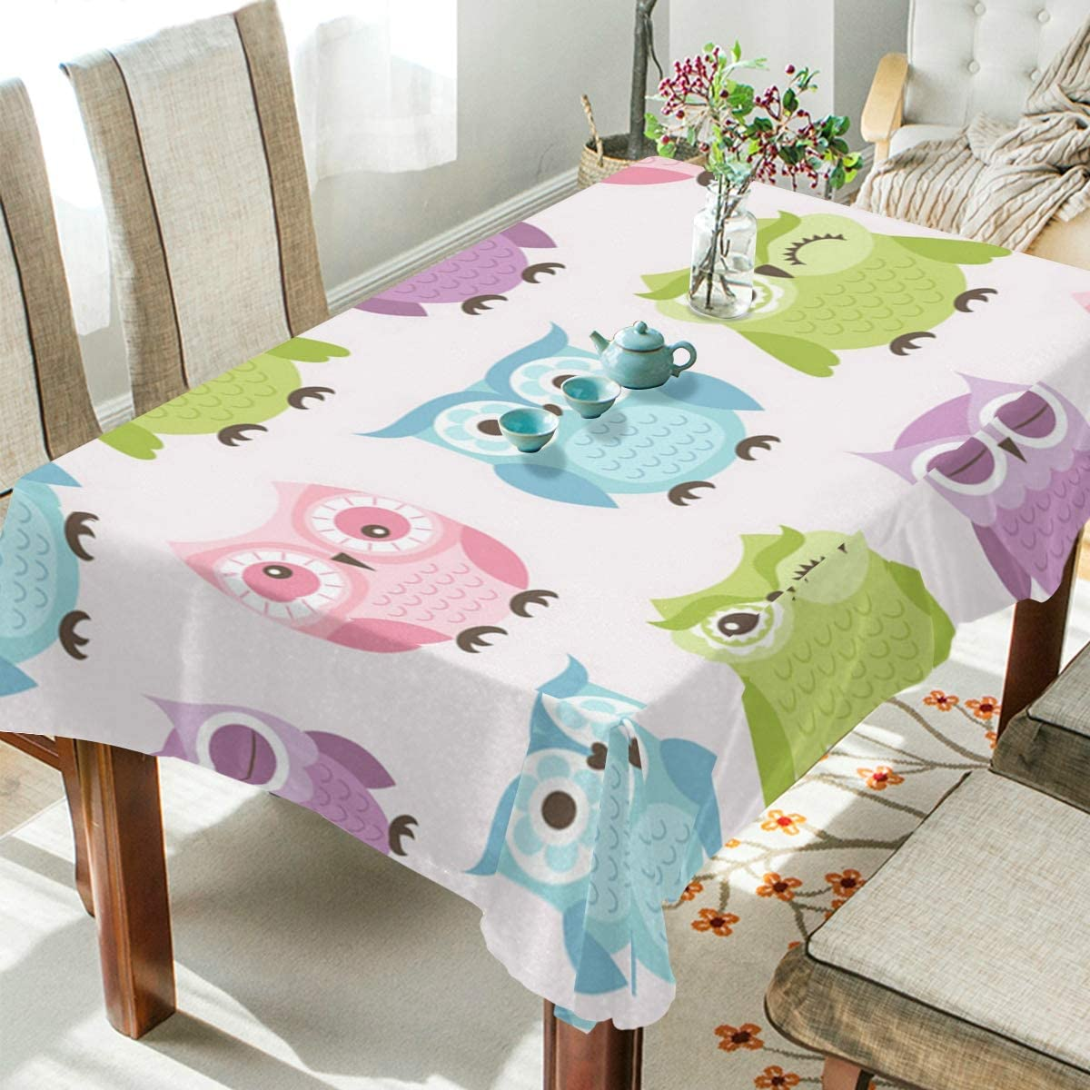 ALAZA Rectangle Tablecloth Cute Colorful Owls for Kids Washable Spill Proof Table Cloth Dust-Proof Table Cover for Kitchen Dining Room Party Tablecovers Spread Home Decoration 54 x 54 Inches