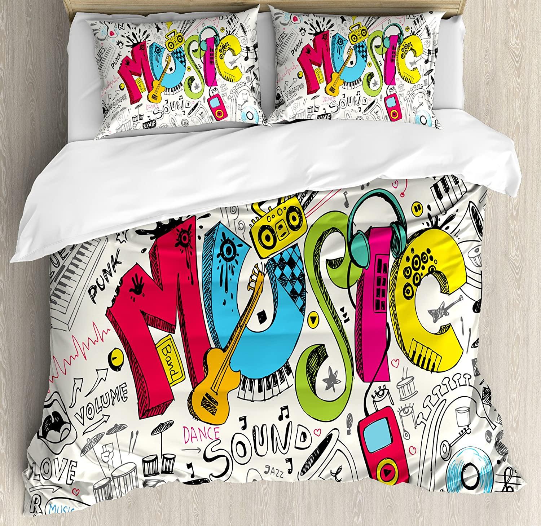 Ambesonne Music Duvet Cover Set, Pop Art Featured Doodle Style Musical Background Instruments Sound Art Illustration, Decorative 3 Piece Bedding Set with 2 Pillow Shams, King Size, Cream Black