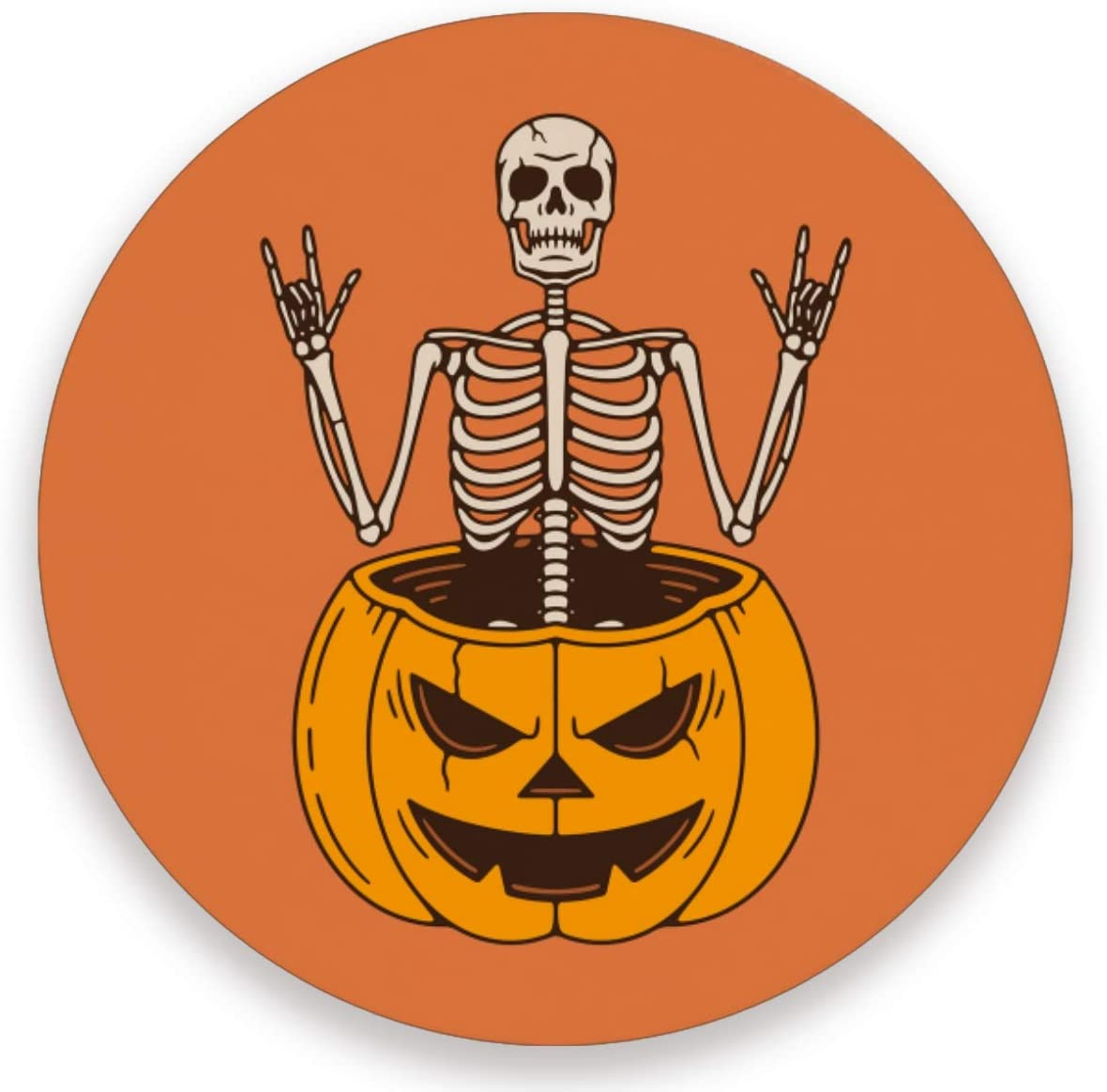 Olinyou Halloween Skeleton Rock Signs Pumpkin Funny Skull Day Of The Dead Coasters for Drinks Set of 2 Absorbent Moisture Absorbing Ceramic Stone Coaster with Cork Base