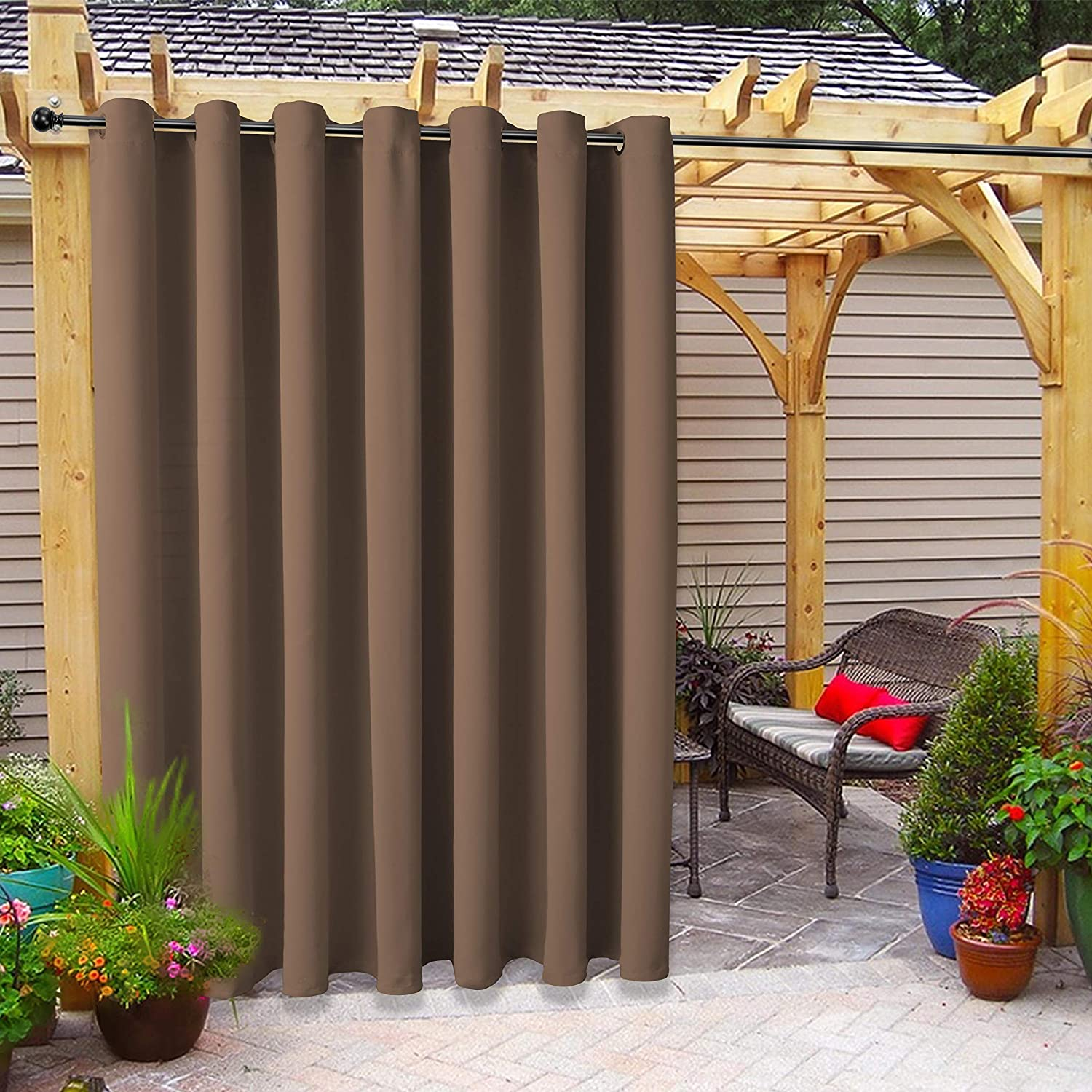 FLOWEROOM Indoor/Outdoor Curtains for Patio, Pergola and Cabana, Khaki, 100 x 95 inch – Sun Light Blocking Waterproof, Grommet Thermal Blackout Curtains for Bedroom/Living Room, 1 Panel