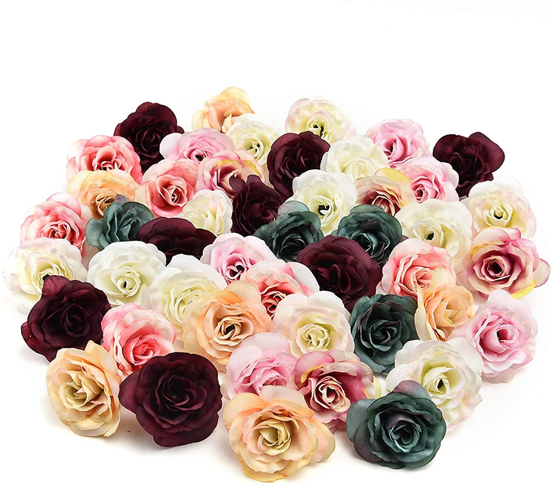 silk flowers in bulk wholesale Fake Flowers Heads Silk Flower Dahlia Rose Artificial Flower Head Wedding Decoration DIY Wreath Gift Box Scrapbooking Craft Fake Flower 30pcs 3.5cm (Multicolor)