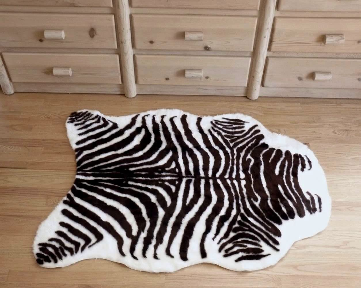 Hollywood Love Rugs Plush Brown and White Faux Zebra Skin Rug from France 3 X 5
