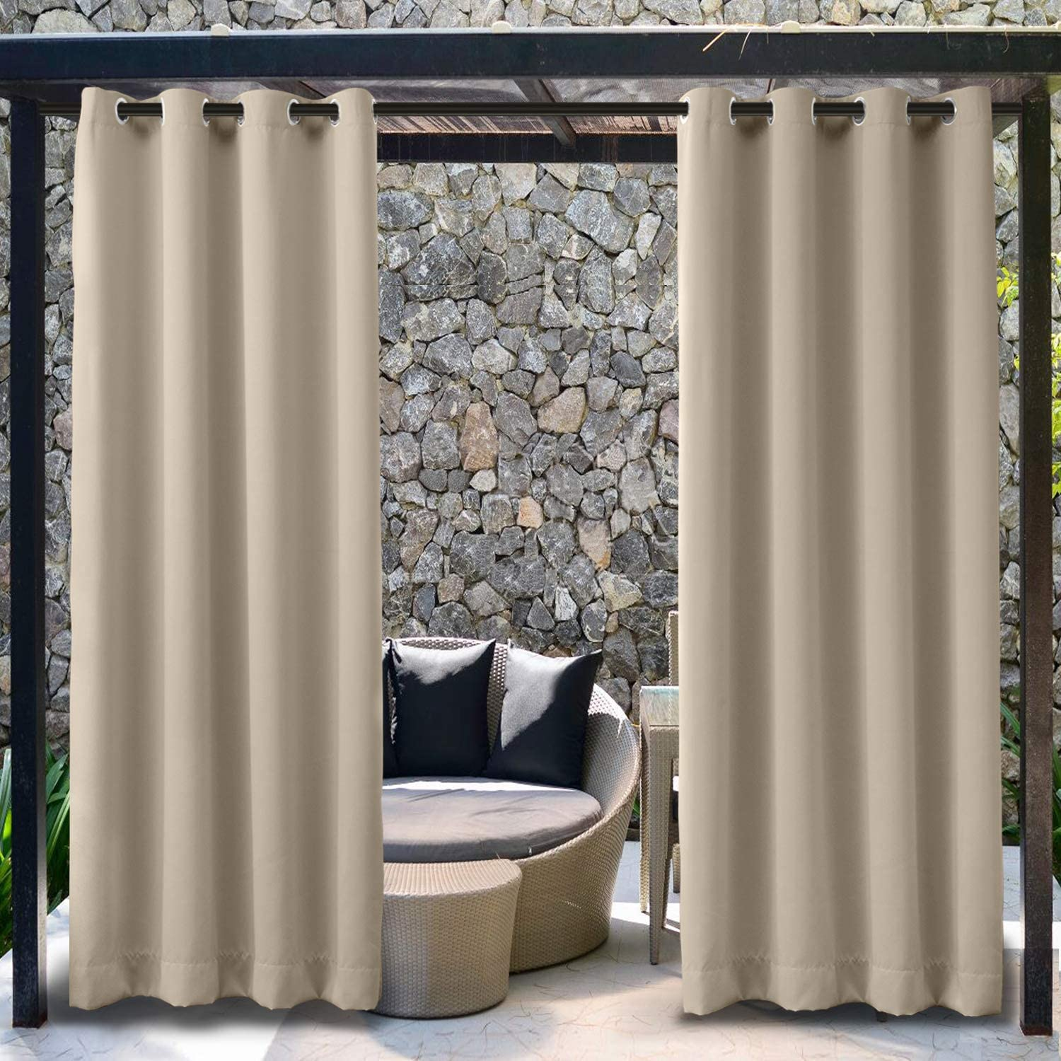 TWOPAGES Outdoor Waterproof Curtain Blackout Rustproof Grommet Curtain Beige Thermal Insulated Curtain Extra Wide Drape for Patio (1 Panel, 150 x 96 Inches)
