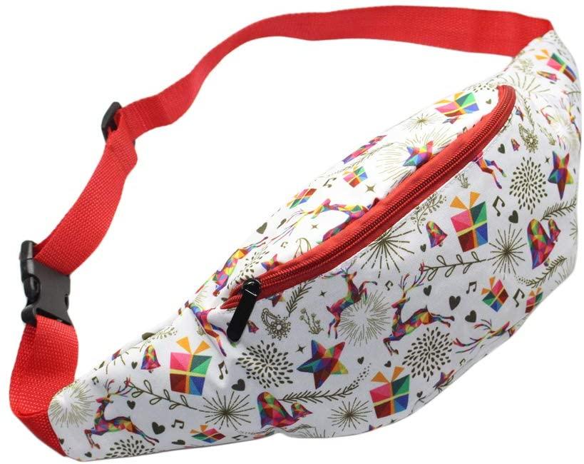 Festival Reindeer Fanny Packs Christmas Gift Women Men Phone Waist Bag 3D Printed Travel Cute Funny Waist Packs
