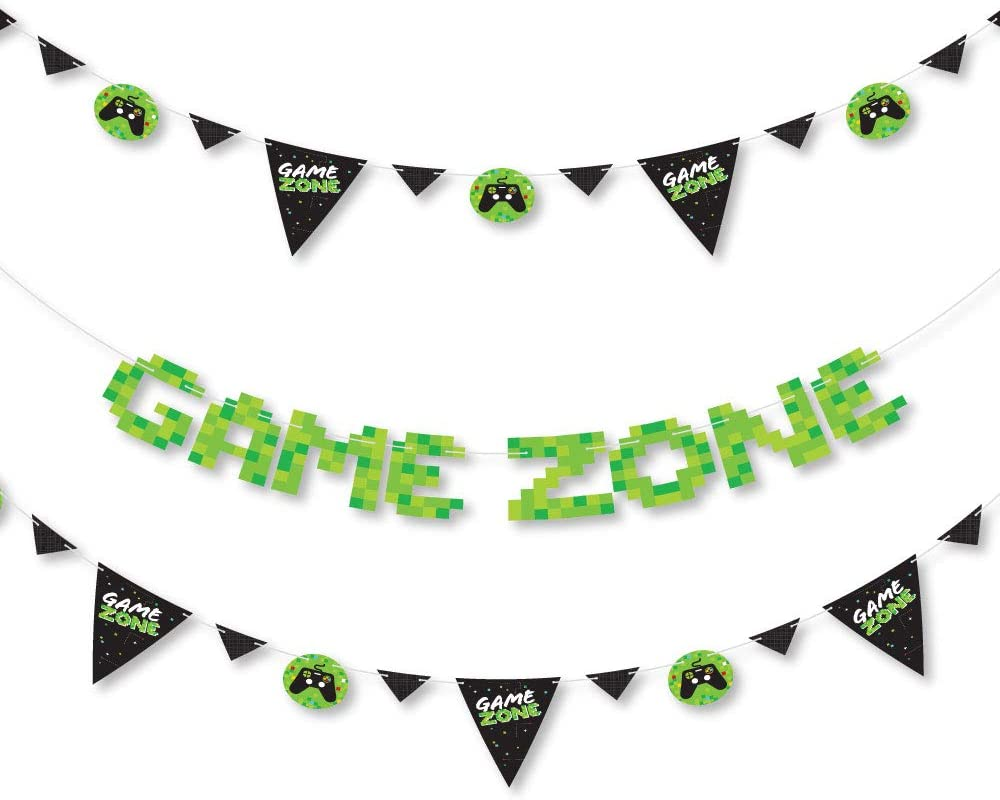 Big Dot of Happiness Game Zone - Pixel Video Game Party Letter Banner Decoration - 36 Banner Cutouts and Game Zone Banner Letters
