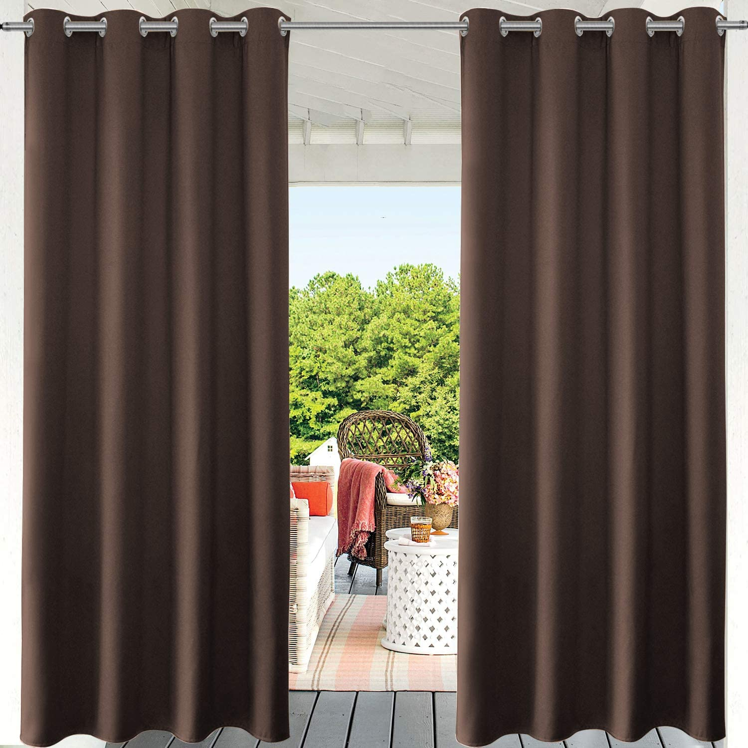 PRAVIVE Outdoor Patio Blackout Curtains - Grommet Waterproof Curtains for Outside Sun Blocking Shades for Patio Porch Blinds Privacy Pergola & Gazebo Drapes, 52
