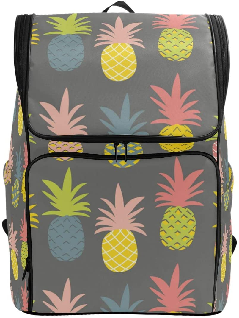 Colorful Pastel Pineapple Backpack Waterproof Polyester Campus Backpack Lightweight Travel Daypack Large Capacity