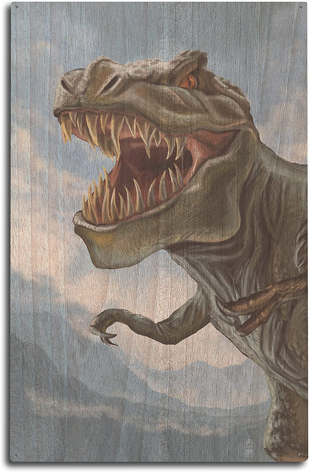 Lantern Press T Rex Dinosaur (10x15 Wood Wall Sign, Wall Decor Ready to Hang)