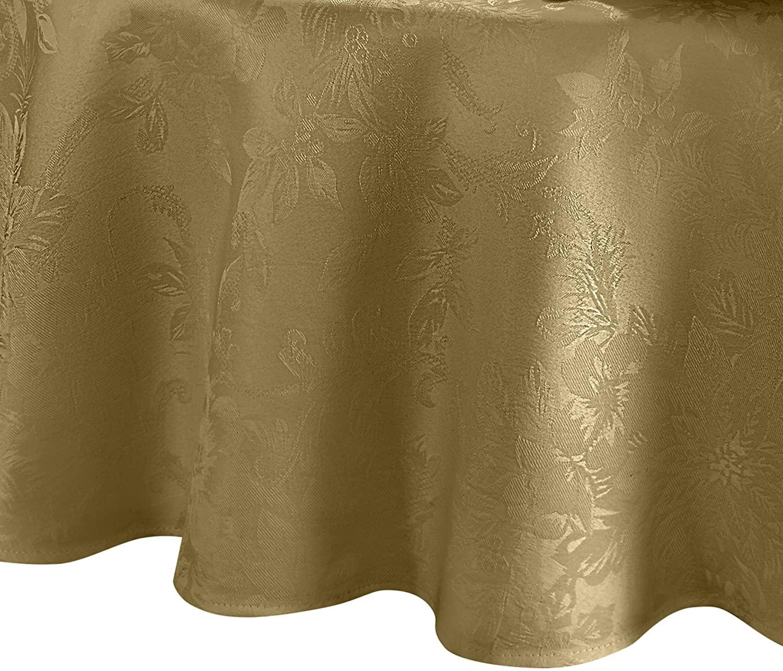 Elrene Home Fashions Poinsettia Elegance Jacquard Holiday Tablecloth, 90