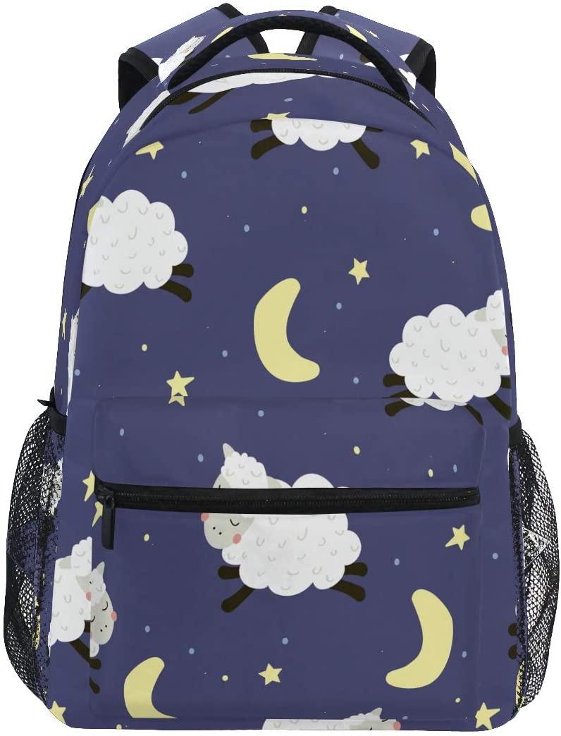 Ombra Backpack Animal Lamb Sheep Moon Star Pattern School Shoulder Bag Large Waterproof Durable Bookbag Laptop Daypack for Students Kids Teens Girls Boys Elementary