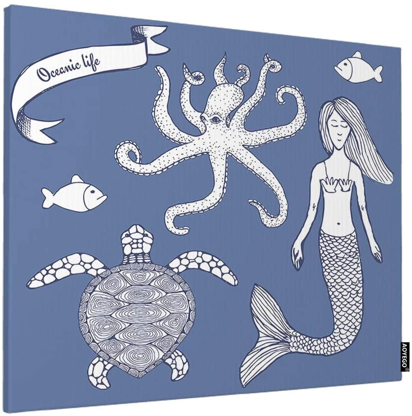 AOYEGO Mermaid Wall Art Sketch Marine Ocean Sea Octopus Turtle Fish Mermaid Print Canvas Artwork Wall Paint Decorative for Home Living Room Bedroom 16x12 Inch Blue White