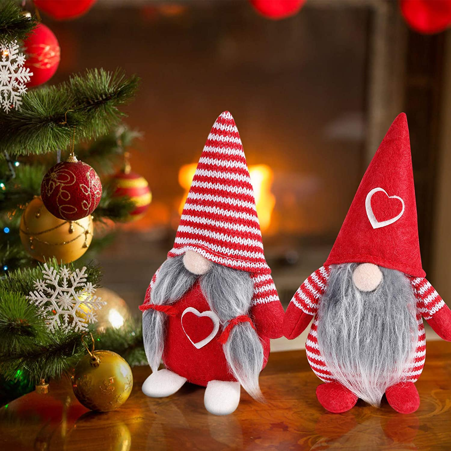 IDJWVU 2Pcs Christmas Gnome Gifts Holiday Decoration Handmade Faceless Love Doll Gifts Home Ornaments Plush Long Leg Tabletop Santa Figurines (Red)