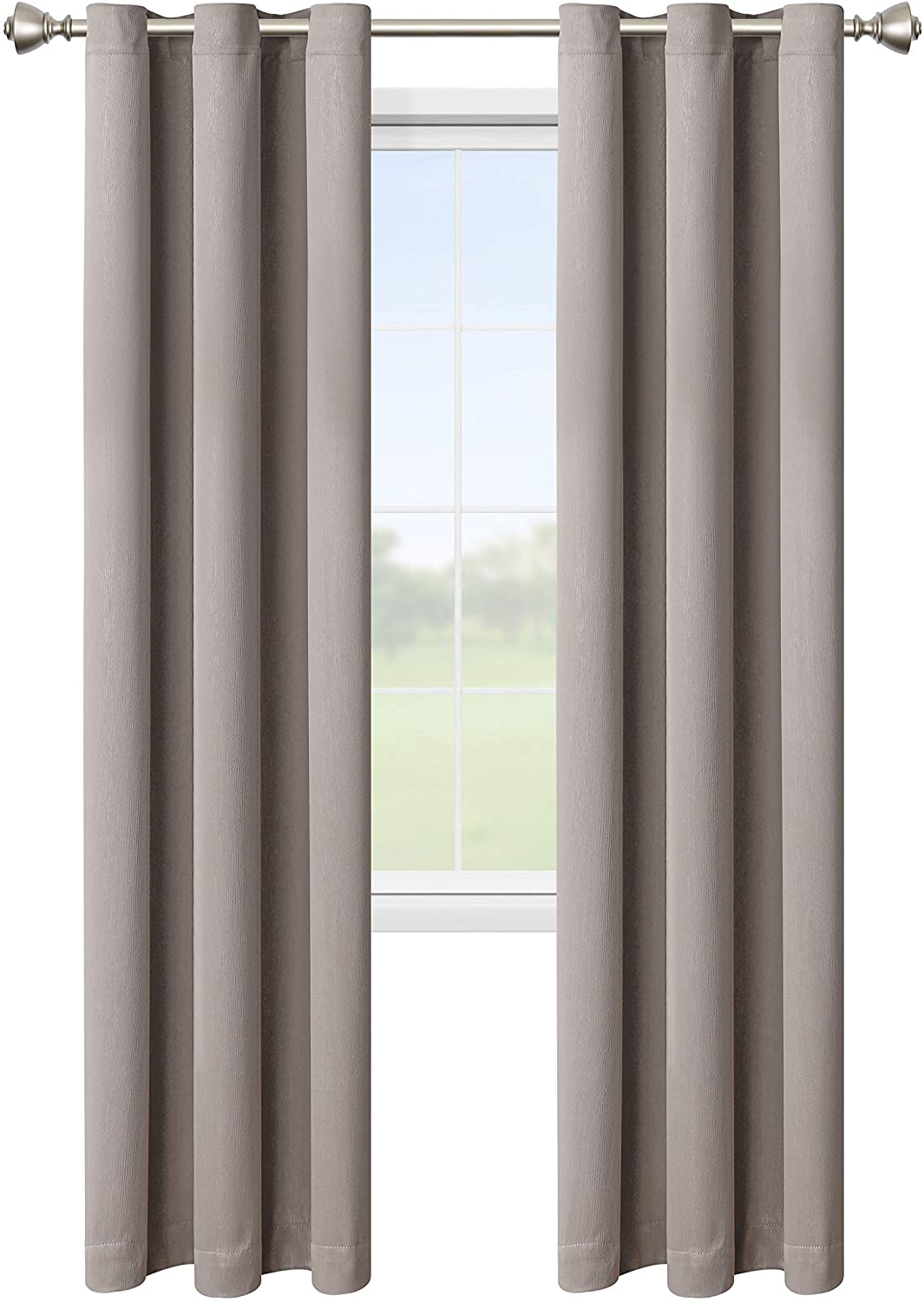 LORDTEX Blackout Curtains for Bedroom -Embossed Design Thermal Insulated Curtains with Grommet Top Room Darkening Noise Reducing Window Drapes for Living Room, 2 Panels, Khaki, 42 x 72 inch