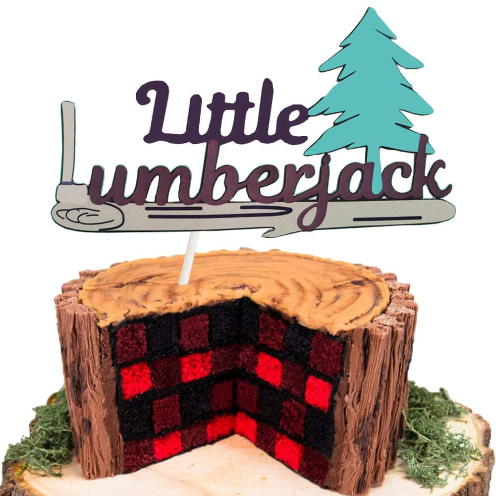 Little Lumberjack First Birthday Cake Topper Buffalo Plaid Rustic Hunter Cake Decoration Christmas Woodland Forest Camping Wild Bear Themed 1st Birthday Baby Shower Party Supplies