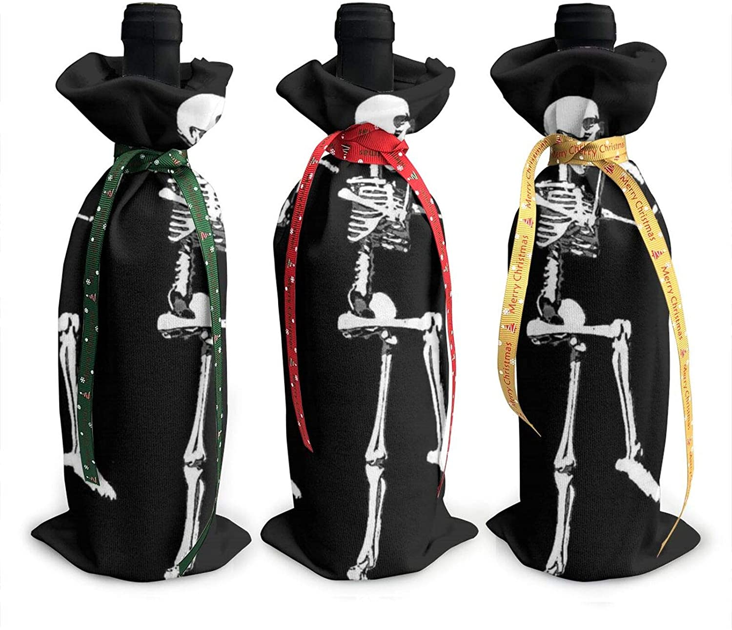 Halloween Posable Skeleton Skull Printed Wine Bottle Cover Decoration Cover Bags, For Christmas Wine Tasting Party Supplies