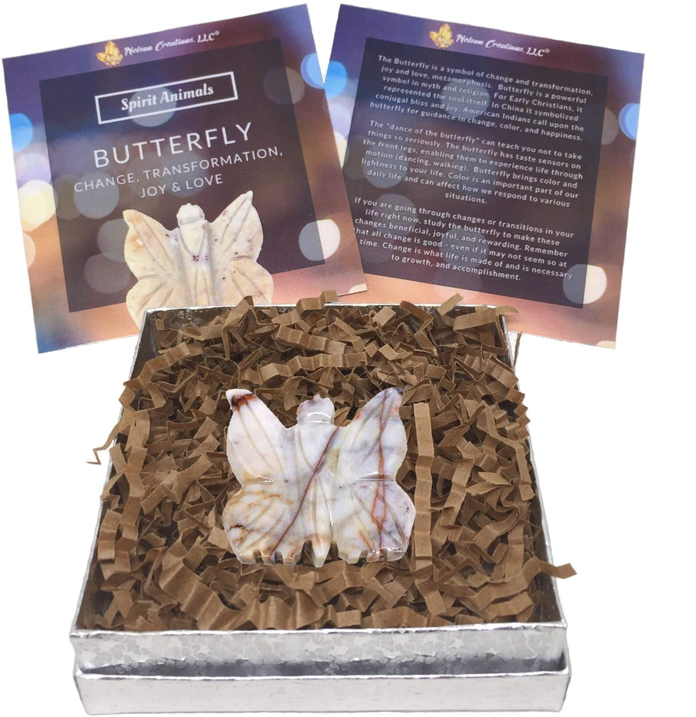 Gift Set with 1.5 Inch Butterfly Hand-Carved Natural Soapstone Carving Charm Figurine, Laminated Spirit Animal Card and Animal Totem Information Card