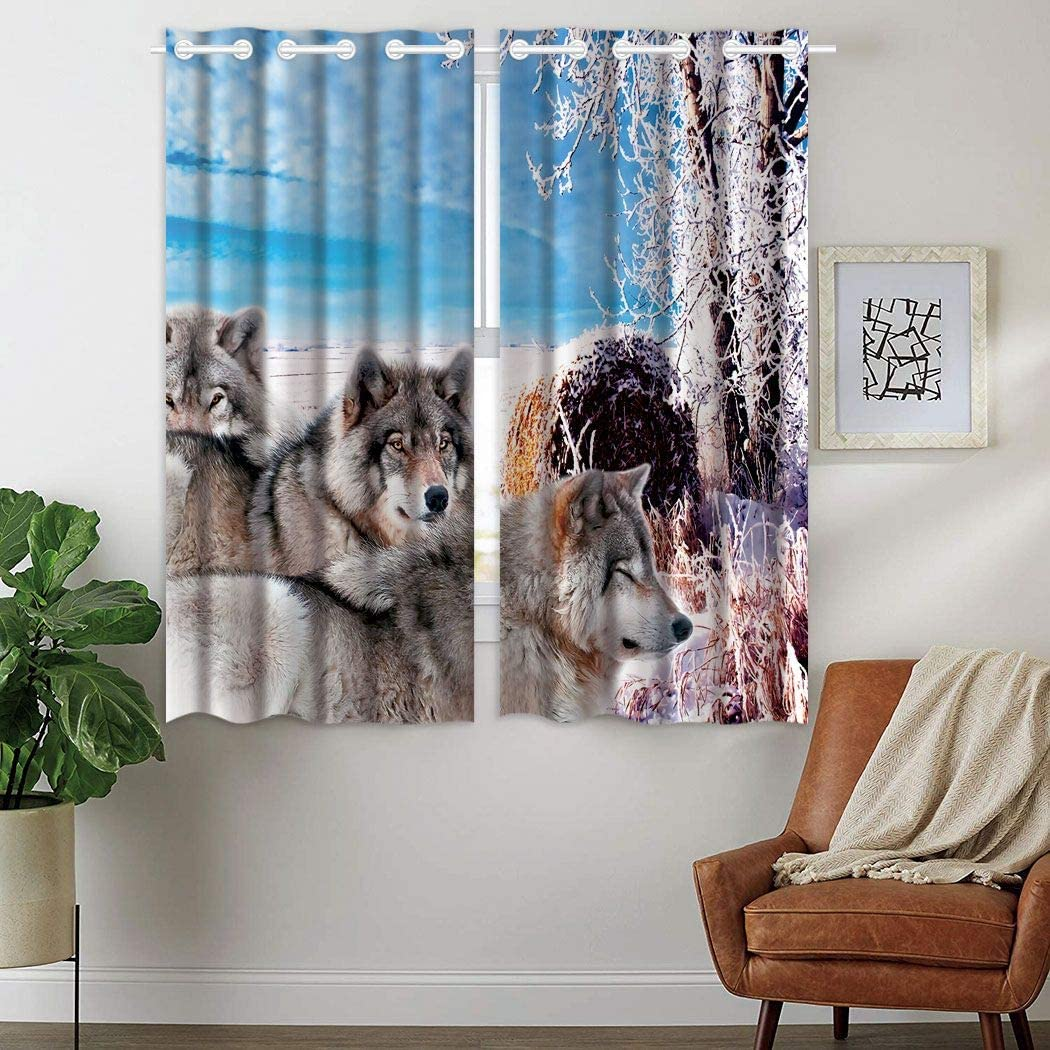 YISUMEI Blackout Curtains 28 x 48 Inch Top Grommet (2 Panels) Window Coverings Room Darkening Curtains North American Wildlife Gray Wolf