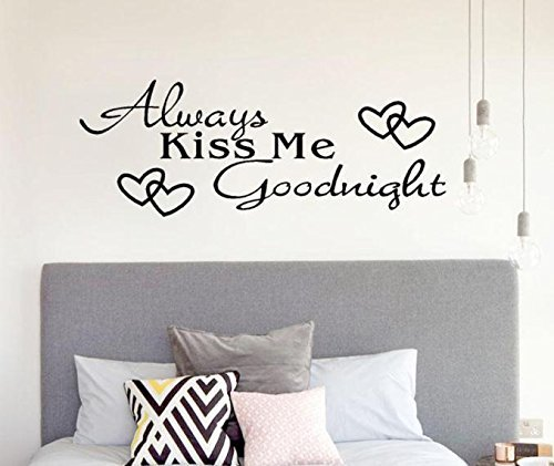 Always Kiss Me Goodnight Wall Sticker for Living Room Bedroom Kid's Room Eco-Friendly Removable Wall Decals Mural Vinyl Art Room Decor