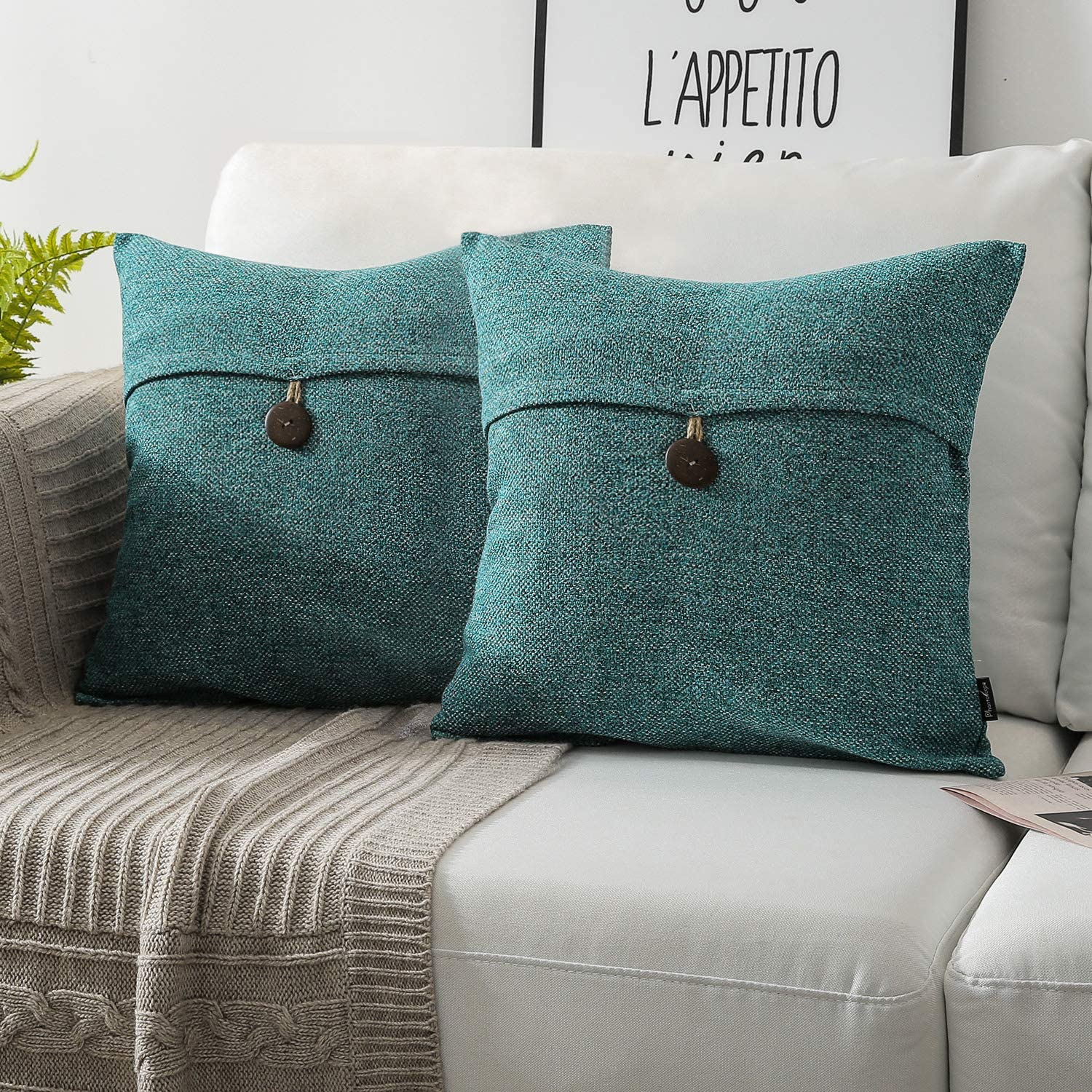 Phantoscope Pack of 2 Farmhouse Throw Pillow Covers Button Vintage Linen Decorative Pillow Cases for Couch Bed and Chair Lake Blue 18 x 18 inches 45 x 45 cm