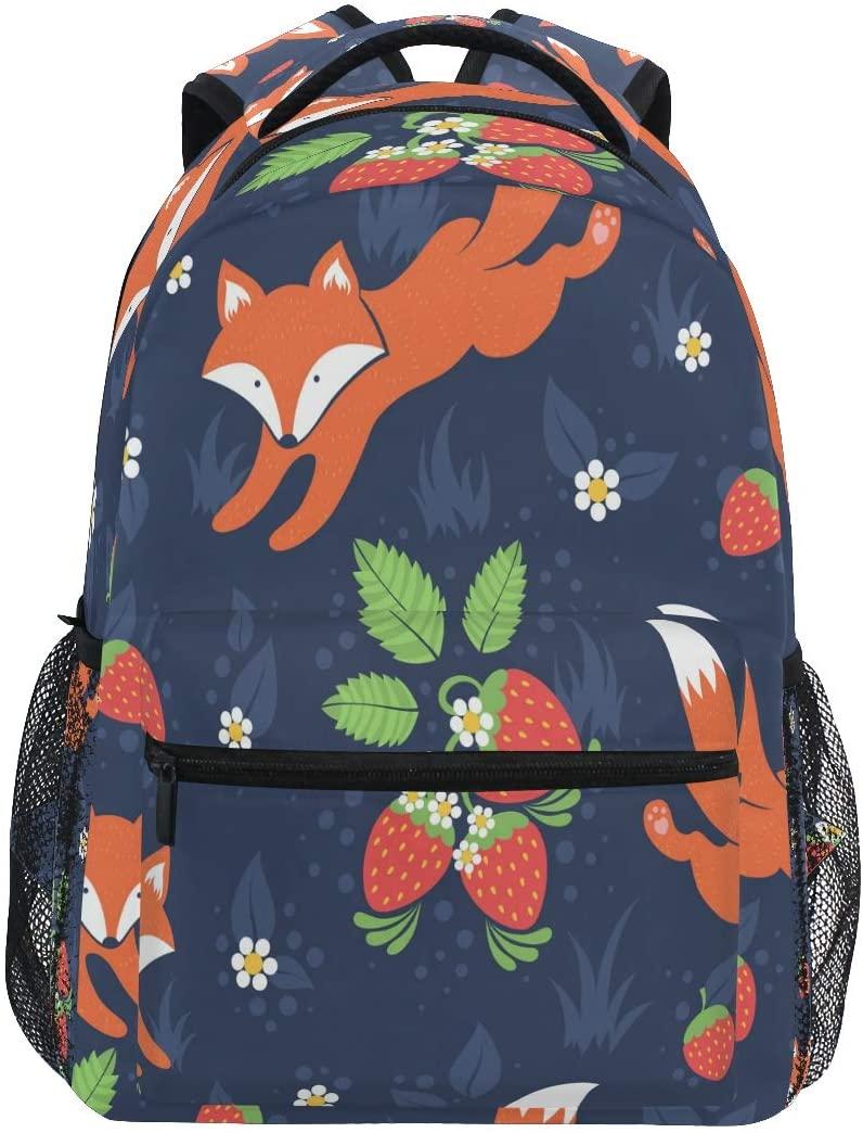 Ombra Backpack Cute Animal Wild Fox Strawberry School Shoulder Bag Large Waterproof Durable Bookbag Laptop Daypack for Students Kids Teens Girls Boys Elementary