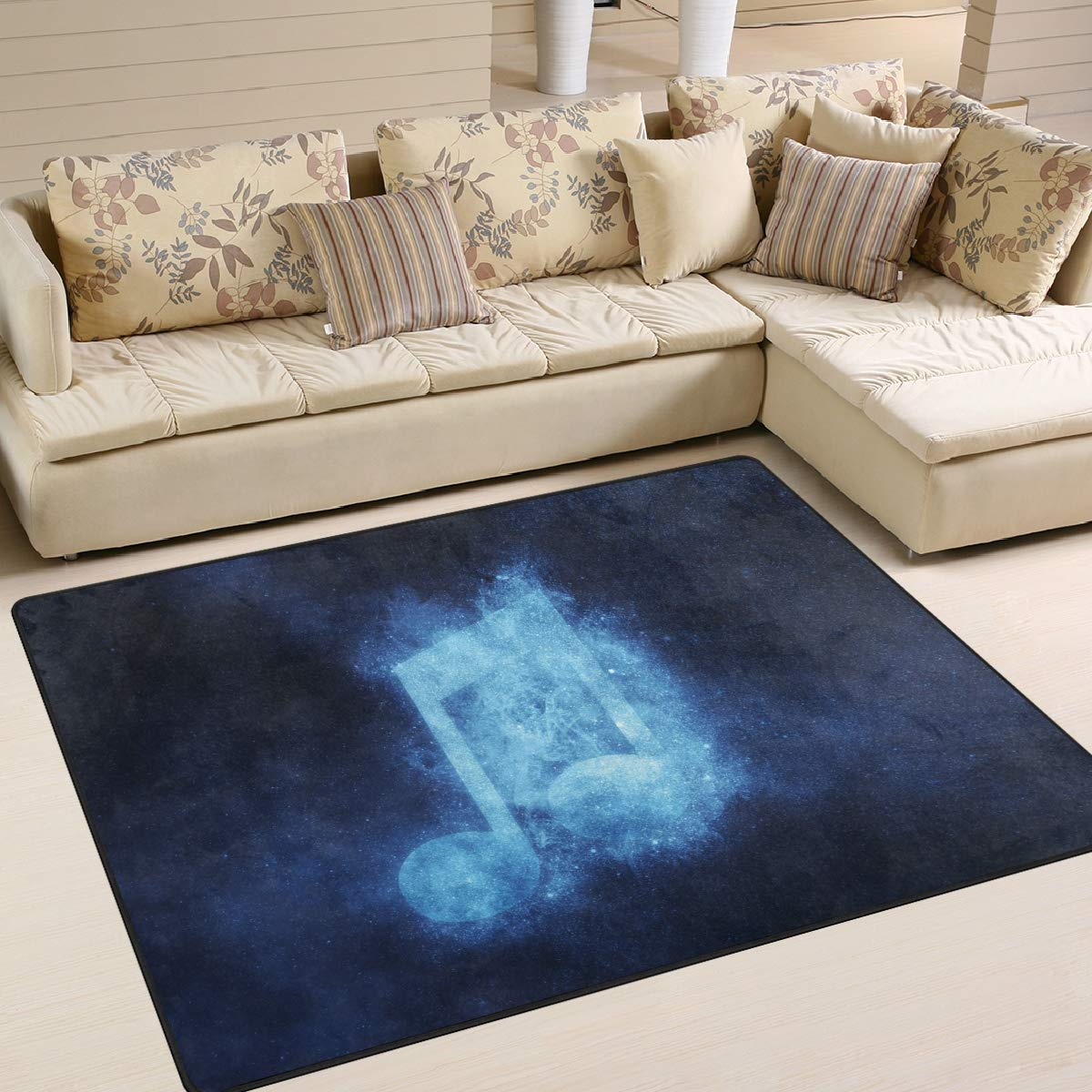 ALAZA Music Note Sign Blue Starry Night Sky Area Rug Soft Non Slip Floor Mat Washable Carpet for Bedroom Living Room 1 Piece 4x5 Feet