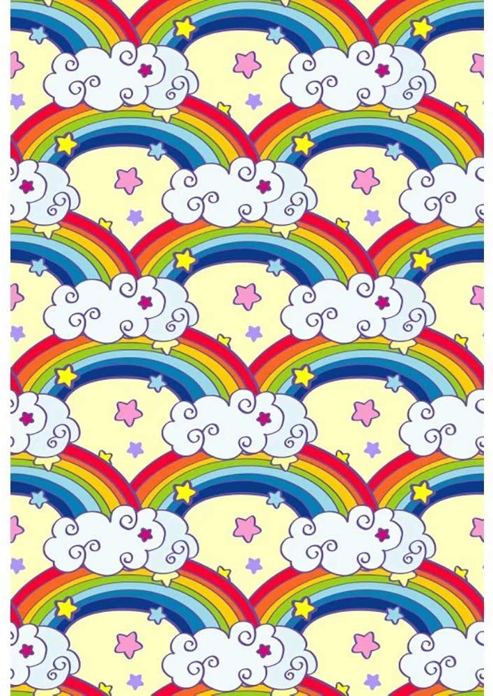Leowefowa 8x10ft Vinyl Photography Backdrop Cartoon Rainbows White Clouds Colorful Stars Kids Birthday Baby Shower Background Event Party Decoration Portrait Photo Shoot Studio Photo Booth Props